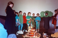 12 March 1992 Guides Pantomine. L to R: Charlotte Davis, ?, ?, Nicky Burwell, Hester Gathony, Hannah Schneider, Lucy Waring, Louise Phipps, Sarah Parrett, Tricia Houston, Eleanor Norgrove (?extreme right).