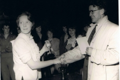 1963/64. County Sports Day - Middle Barton Youth Club. Christine Savage collecting the discus prize, somewhat distracted, from Mr. Foxon, County Youth Organiser.