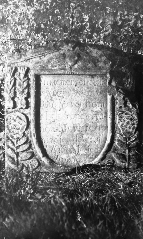 Graveyard surveys: 1708 In Memory of Thomas and Mary ye Son and Daughter of Thomas Eaglestone and Frances his wife Thomas died de…. 1708….