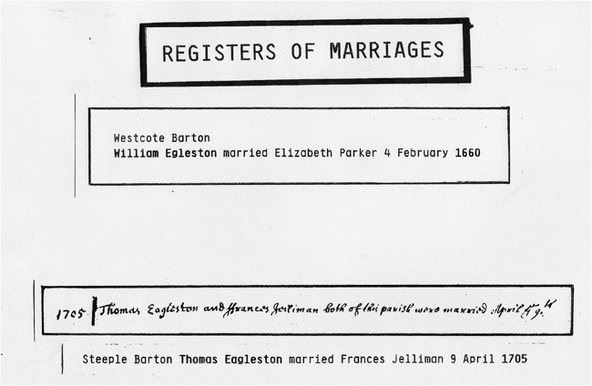 February 4 1660 Westcote Barton. William Egleston married Elizabeth Parker 4 February 1660.