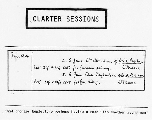 June 1824 Quarter Sessions. Charles Eaglestone perhaps having a race with another young man?