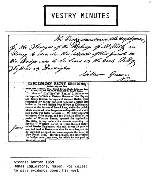 1859 Steeple Barton Vestry Minutes. James Eaglestone, mason, was called to give evidence about his work.