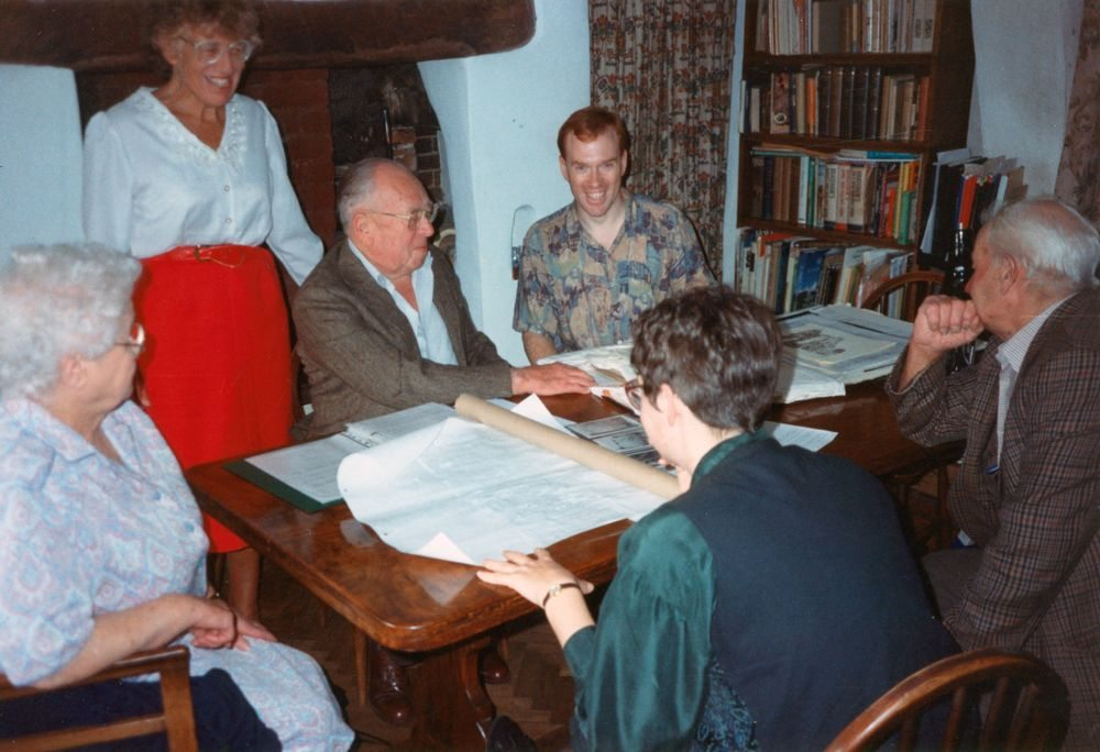 Summer 1992 11 Enstone Road. Left to right: Joan Irons,  Hazel Eaglestone, Albert Eaglestone (her father-in-law), Aidan Eaglestone (her son), Aidan's friend, Jack Irons.