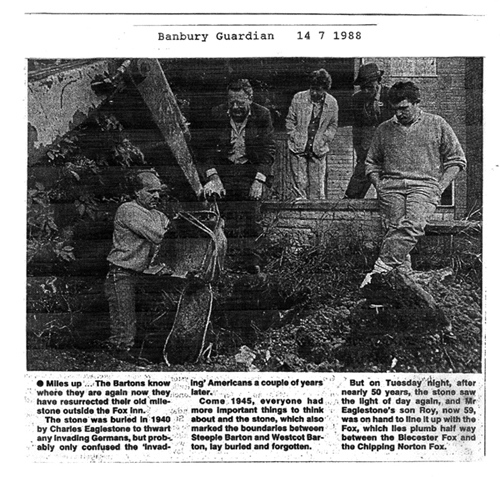 July 14 1988 Banbury Guardian. Roy Eaglestone, John Woodley and Ken Castle uncovering the milestone buried by Roy's father in the Second World War.
