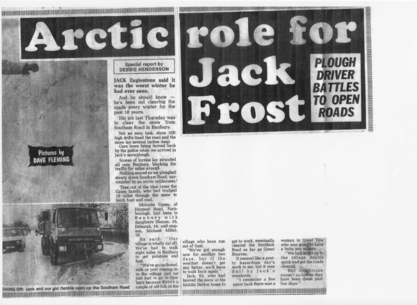 January 22 1987 Banbury Cake article. Jack Eaglestone clears snow on the Southam road.