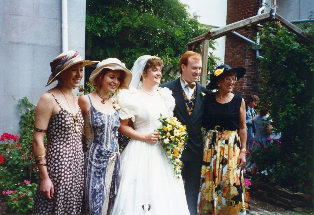 August 13 1994 Exeter. Wedding of Aidan Stuart Eaglestone to Deborah Jane Gray. Left of the Bride: Catherine Fiona Eaglestone b 10.1.1966, Paula Ruth Eaglestone b. 22.4.1967.