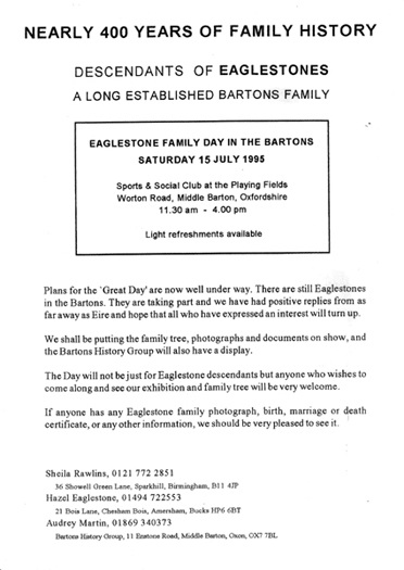 July 15 1995. Invitation to the 'Eaglestones' day'.
