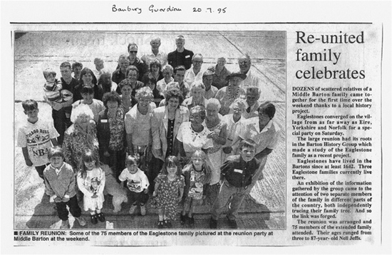 July 20 1995 Banbury Guardian article on the Eaglestone re-union.