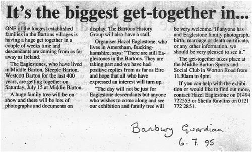 July 6 1995 Banbury Guardian article on the forthcoming Eaglestone re-union.