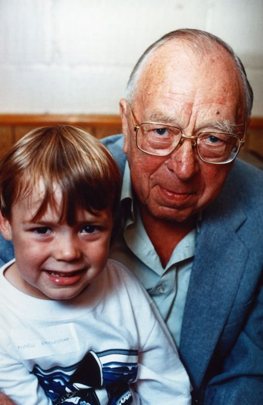 July 15 1995 Eaglestone family day - Albert Eaglestone and his great grandson, Mark, son of Paul and Carol.
