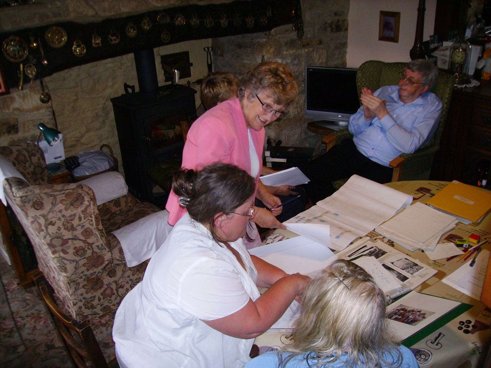 July 2010 Eaglestone family research group. Round the table, bottom to top. Joyce Eaglestone (wife of Roy), Katherine Eaglestone (daughter of Joyce), Maureen Hale (wife of Michael), Chris Edbury (village archivist), Michael Hale (descended from MB Eaglestones).
