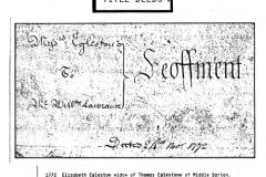 1772 Elizabeth Egleston, widow of Thomas Egleston, slate mason, and her son, Thomas, another mason, sell their cottage near the Quaker Meeting House for £33. Elizabeth signed her name.