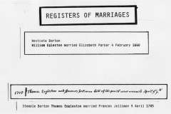 February 4 1660 Westcote Barton. William Egleston married Elizabeth Parker 4 February 1660.