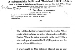 1920s Sale of the Barton Abbey estate by the Halls. Mr K (C) Eaglestone occupied the middle cottage.