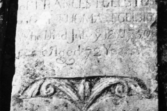Here lieth ye body of FRANCES EGELSTON wife of THOMAS EGELSTON Who died July ye 12 1750 Aged 72 years.