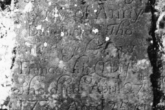 Here lieth ye body of Ann ye daughter of Thomas Egelstone & Frances his Wife She died April 27th 1733 Aged 25 years.