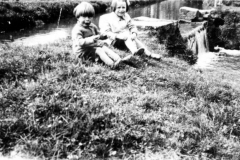 1920s Children by the mill stream - Roy and Joan Eaglestone.