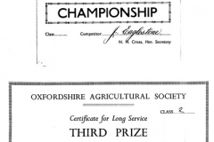 1951 Ploughing Match Prize. 1965 Long Service Prize.