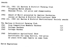 1940s/50s/60s Jack and David Eaglestone Farming, Gardening and Long Service award summary.