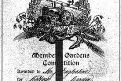1963 Gardening prize certificate.