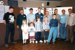 July 15 1995 Eaglestone family day - all with the name Eaglestone. Back: Charles, Roy, ?, Aidan, Albert, Stephen, David, Jack. Front: Mark, Charley, Charles, Robert.