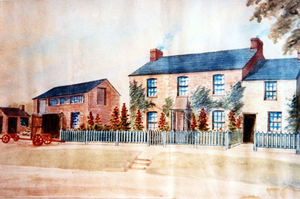 1880s site of 8 Enstone Road. Painting of Baker's workshop.
