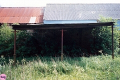 1987 Hollier's Barn. Built using lamp posts, said to have been brought from Woodstock by Mr. T. Robinson.