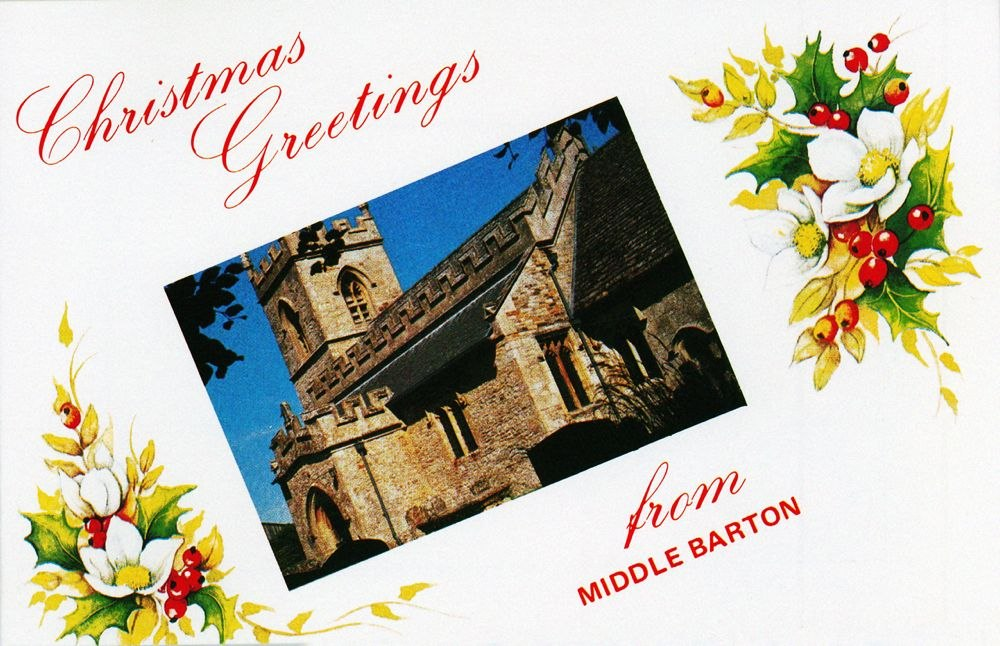 1991 Christmas Greetings card - front: Westcote Barton church. Produced for E.C. Webb.