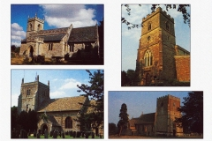 1991 Greetings card. St. Edward the Confessor, Westcote Barton; St. Martin, Sandford St. Martin; St Mary Magdalene, Duns Tew; St. Mary the Virgin, Steeple Barton. Photographs by Joan Davies.