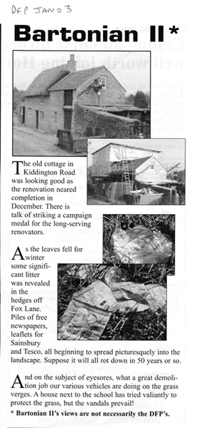 January 2003 Dorn Free Press article on Kiddington Road cottage restoration.