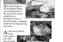 January 2003 Dorn Free Press article on Kiddington Road cottage restoration.
