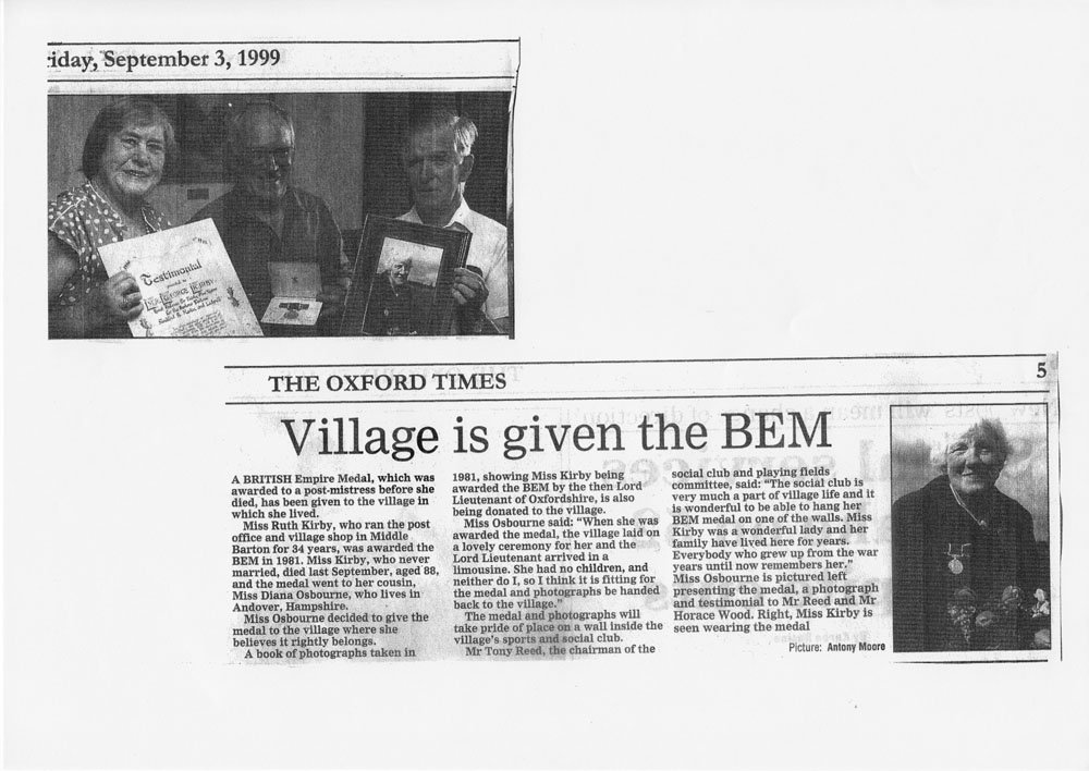 3 September 1999 Oxford Times: Ruth Kirby's British Empire Medal returns to Middle Barton.