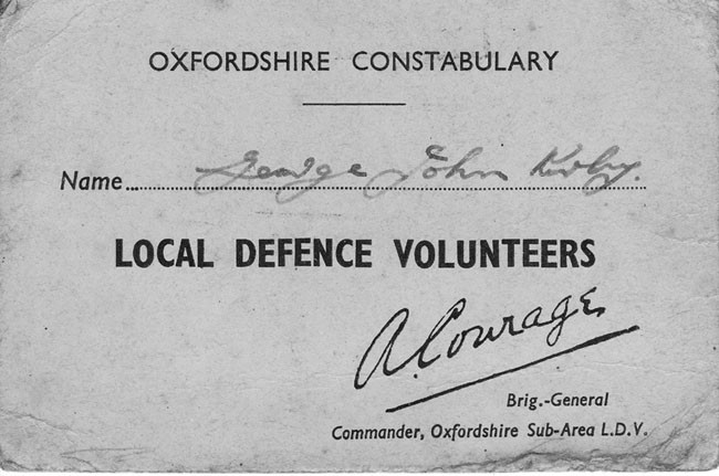 Local Defence Volunteer card for George John  Kirby.