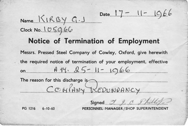 17 November 1966 Redundancy notice from the Pressed Steel Company at Cowley for George John Kirby.