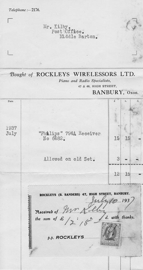 July 1937 Receipt for Mr Kilby (Kirby?) for a new wireless receiver from 'Rockleys Wirelessors' of Banbury.