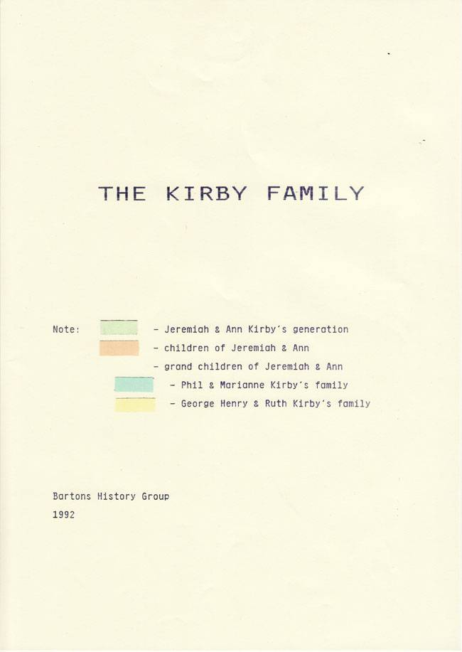 1992 Bartons' History Group colour index to the Kirby family.