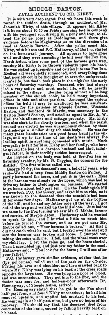 29 May 1896 Oxford Times - report of the accidental death of Jeremiah George Kirby.