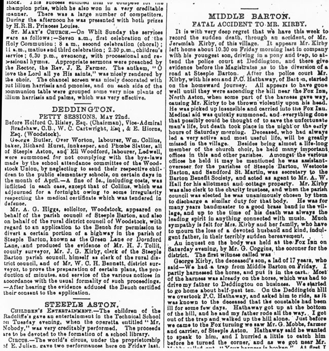 18 June 1896 Jackson's Oxford Journal - report of the accidental death of Jeremiah George Kirby.