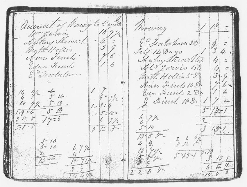 1840s Photocopy of a page of a notebook started by William Finch in the 1840s.