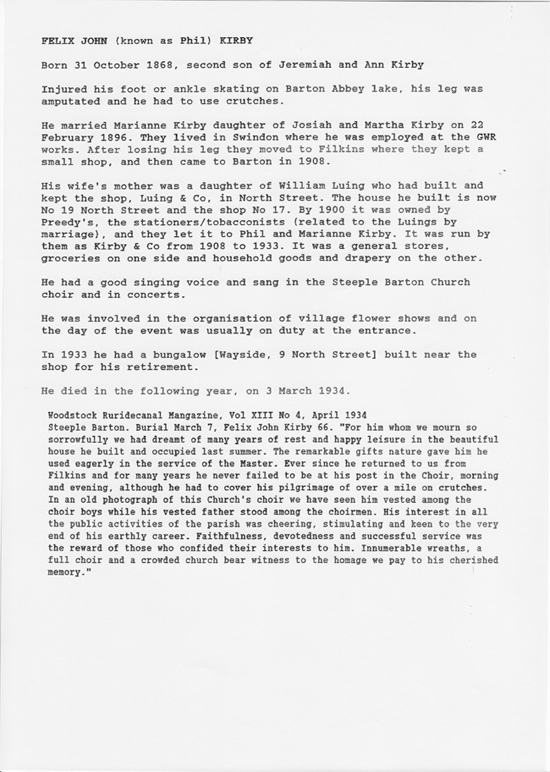 Biography of Felix John (aka Phil) Kirby. Died 3 March 1934.