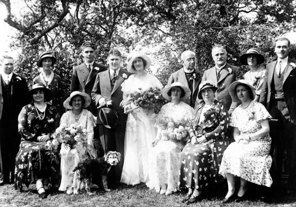 26 July 1933 Wedding of Thomas John Owen and Mona Kirby. Back: Mr. Jones (stepfather), Mary Goffe, Hugh Owen, 'Taff' and Mona, Rev Simon Stephen, Phil Kirby, Mary Chislett and Jim Humphries.
