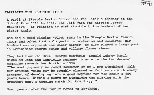 Biography of Elizabeth Edna (Bessie) Stockford nee Kirby.