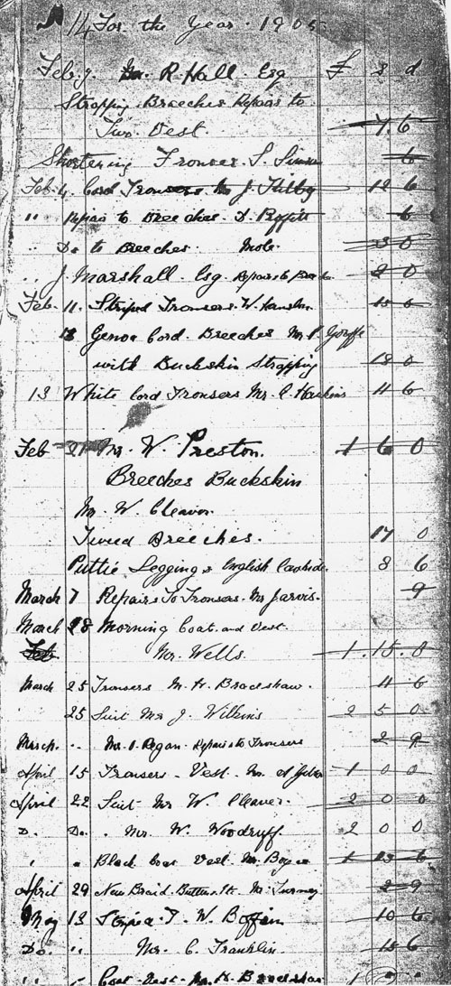 1905-1928 Extract from the Tailoring Ledger of Kirby tailors.