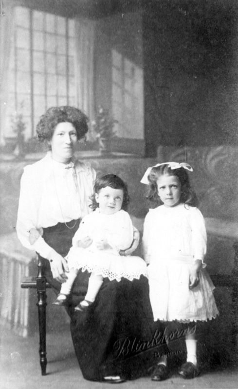 Ruth Kirby with her daughter, also Ruth, and her son George. Ruth also had twins, Ethel and Henry, who died within a month of being born.