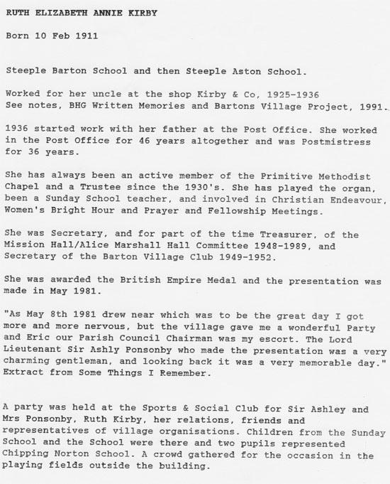 Biography of Ruth Elizabeth Annie Kirby 1911 - 1998.