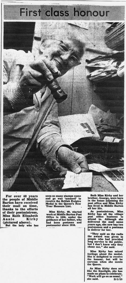 January 1981 Banbury Guardian: British Empire Medal awarded to Ruth Kirby.