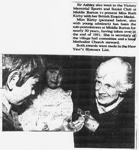 Newspaper cutting recording the British Empire Medal award to Ruth Kirby.