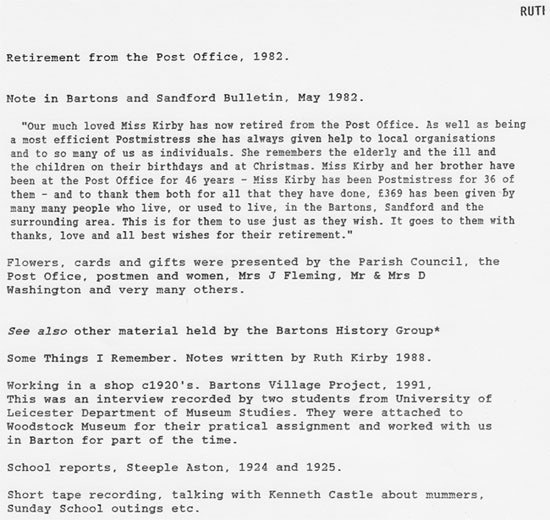 May 1982 Ruth Kirby retires from the post office. See also other material on her life as a postmistress held by Bartons' History Group.