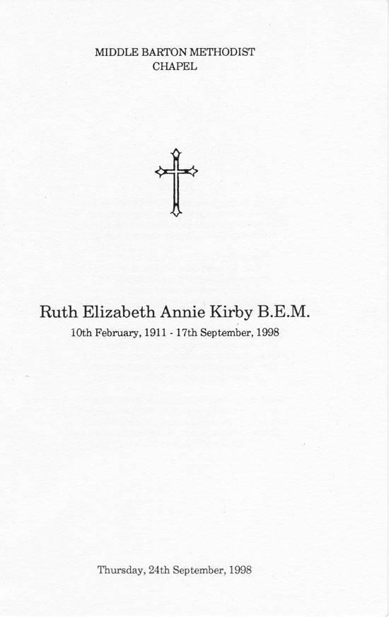 24 September 1998 Funeral service for Miss Ruth Elizabeth Annie Kirby BEM 1911 - 1998.