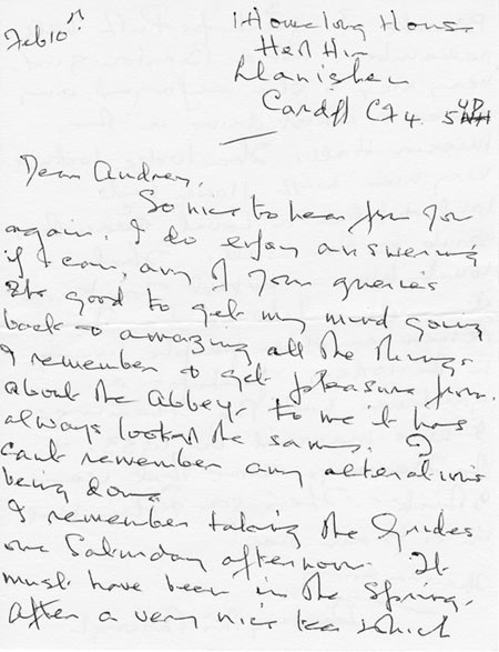 Letter (1 page 1) addressed to Mrs Audrey Martin from Mrs Mona Owen with Kirby family reminiscences.